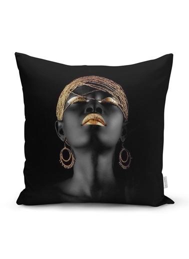 Real Homes Siyahi Kadın Özel Tasarımlı Modern Dekoratif Yastık Kırlent Kılıfı Renkli